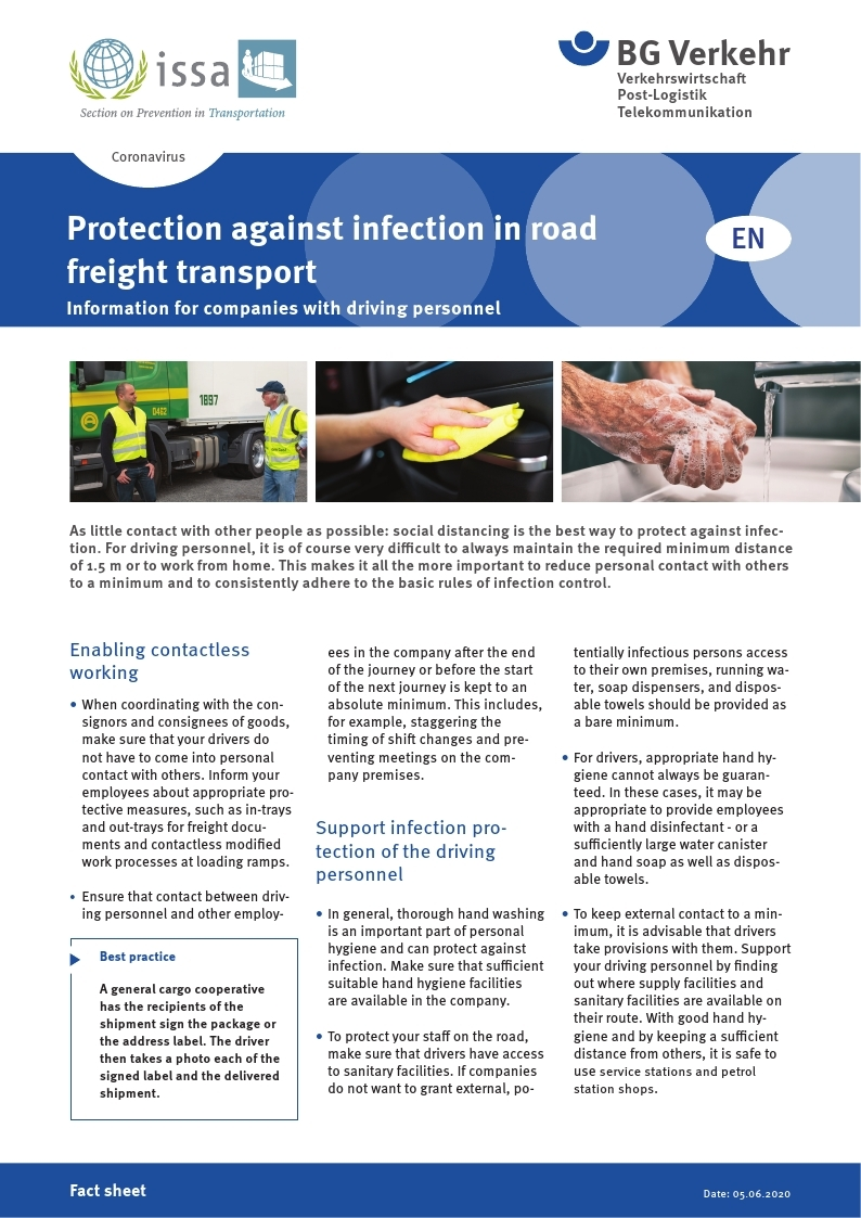 [BG Verkehr]Protection against infection in road freight transport