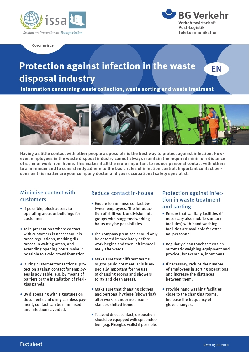 [BG Verkehr] Protection against infection in the waste disposal industry