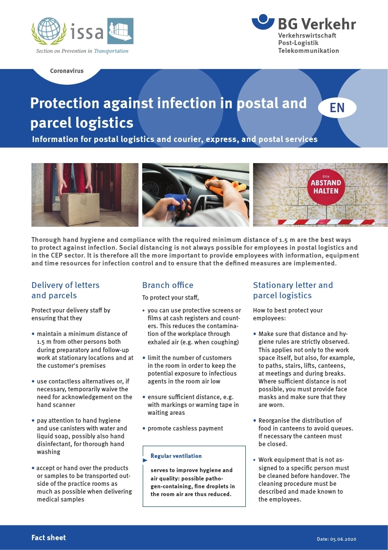 [BG Verkehr] Protection against infection in postal and parcel logistics