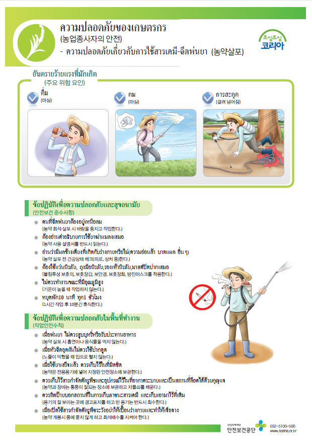 Safety and Healthcare Manual for Foreign Workers-Farming Industry : Spraying of agricultural pesticides 외국인 근로자 안전보건 매뉴얼 - 농업 : 농약살포